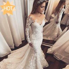 Mermaid Illusion Bateau Long Sleeves Tulle Wedding Dress with Appliques