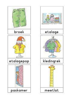 Woordkaarten Bas 'De kledingzaak' 1 Vans Top, Dutch Language, Work Inspiration, Kids Learning, Activities, School, Comics, Speech Therapy, Grammar