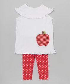 Look at this #zulilyfind! White Apple Tunic & Red Polka Dot Leggings - Toddler & Girls #zulilyfinds