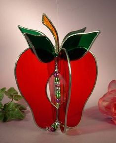 Stained Glass Apple by StainedGlassbyWalter on Etsy, Stained Glass Suncatchers, Stained Glass Crafts, Stained Glass Patterns, Mosaic Art, Mosaic Glass, Fused Glass, Blown Glass, Window Ledge, Window Sill