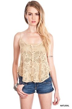 Sexy Crochet Button Tank in Natural color with longer hem on back.  60% Cotton, 40% Polyester