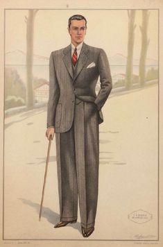 Men's suits illustrated in La Moda Maschile, 1930s