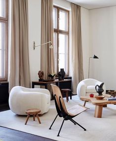 for home Berlin Apartment of Emmanuel De Bayser featuring Ours Polaire (Polar Bear) sofa by Jean Royere and the chairs by Jean Prouve. Best Interior Design, Home Design, Interior Decorating, Modern Design, Decorating Ideas, Design Ideas, Decorating Websites, Interior Design Magazine, Design Interiors
