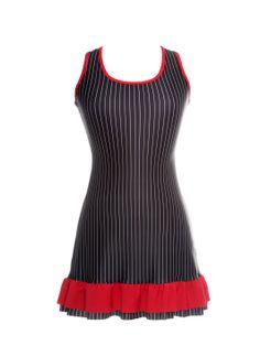 Vestido risca de giz folho vermelho (frente) www.modaypadel.com #padel #modapadel #padelfemenino