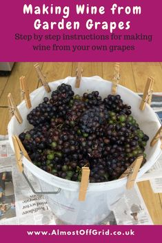 Since we started making our own everything, I can't tell you how many people have asked us about making wine from garden grapes. Or, indeed, how many people have offered us their garden grapes to make wine. Homemade Wine Making, Homemade Wine Recipes, Homemade Alcohol, Grape Recipes, Homemade Liquor, Recipe For Grape Wine, Home Wine Making, Homemade Crafts, Canning Recipes