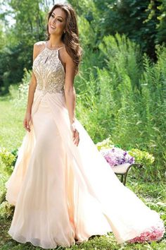New Design A-Line Beaded Backless Long Chiffon Prom Party Dresses Real Made Chiffon Evening Dresses(ED0591) - Long Prom Dresses - PROM DRESSES