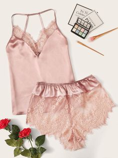 To find out about the Lace Trim Satin Cami Top & Shorts Pj Set at SHEIN, part of our latest Sexy Lingerie ready to shop online today! Cami Tops, Pajamas For Teens, Satin Cami Top, Casual Skirt Outfits, Sexy Outfits, Fashion Outfits, Sleepwear Women, Women's Sleepwear, Loungewear