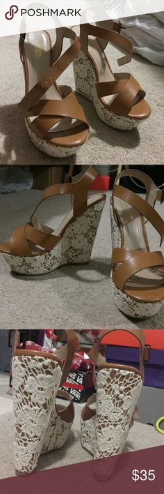 "Tan 5"" wedges w/ lace ONLY WORN ONCE!! ONLY WORN ONCE! Has 2"" platforms, but its 5"" high! Felt comfortable to wear and super stylish! Needs a new home since its just being stored and not worn! Charlotte Russe Shoes Wedges"