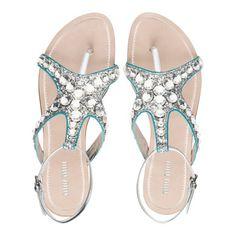 Miu Miu Glitter Starfish Silver Anise Sandals