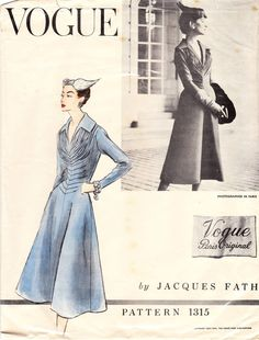 Beautiful dress designed by Jacques Fath for Vogue Paris Original pattern 1315:    The dress with flared shaped skirt has soft front drapery and pin tucks