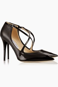 JIMMY CHOO Mallow patent-trimmed leather pumps - The Fashion and Beauty Addict