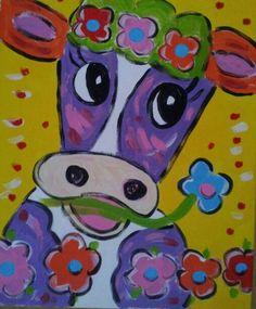 Schilderij ' Vrolijke Koe' 50 bij 40 cm.