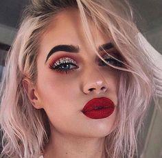 Lauren rauhrer | bold glam glitter cut crease cranberry smoky red lips