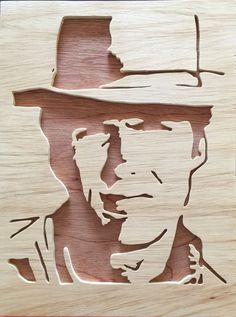Items similar to Clint Eastwood Scrollsaw Portrait Wall Hanging on Etsy Laser Art, 3d Laser, Woodworking Projects Diy, Wood Projects, Metal Art, Wood Art, Trophy Design, Portrait Wall, Wood Burning Patterns
