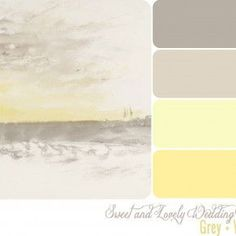 I like the butter yellow color. Grey and Yellow color palette from Sweet and Lovely Life Colour Pallete, Colour Schemes, Color Combos, Color Palettes, Yellow Bathrooms, Bathroom Grey, Master Bathroom, Yellow Painting, Yellow Paint Colors