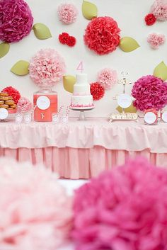 Interesting use of tissue paper pom poms! make them in white with tiny lady bugs around them.