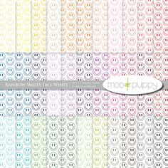 Digital Scrapbook Paper Pack    Rainbow Smiley Face by mooandpuppy  https://www.etsy.com/listing/110552102/digital-scrapbook-paper-pack-rainbow?ref=shop_home_active_21