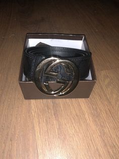 Gucci Mens Black Leather Belt With Gold Double G Buckle -Size 34-40   49e0bd713a8
