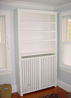 Custom furniture: Radiator Cover Bookcase in white paint