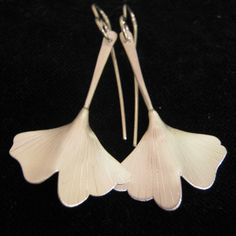 Stirling silver gingko leaf earrings made in New Zealand By RUTH BAIRD-NZ see more of her work here  http://coolstoregallery.co.nz/RuthBaird2.htm