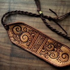 boho leather cuff with filigree and chevrons by OurFolkLife, $34.00