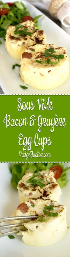 Sous Vide Bacon and Gruyère Egg Cups are amazingly delicious and easy to make. They're perfect for an elegant breakfast or light brunch. via @c2king