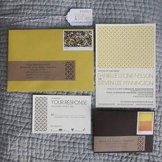 Yellow   Brown - Letterpress Wedding Invitations