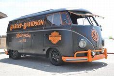 COOL VOLKSWAGEN BUS - HARLEY DAVIDSON CORP. - COOL FLIP UP FRONT WINDOWS!