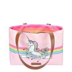 Bolsa Sacola Dupla Face Unicorn, modelo Shopper Grande, produzida em tecido sintético especial que não desbota. Coleção Icon Pop da Estilo Menina