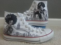 Afro Centric Superhero Diva Themed Custom Made Shoes by BRINKADINK