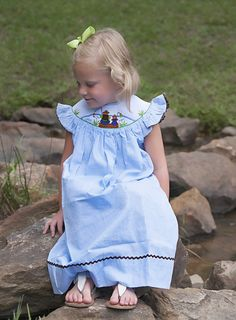 "Blue Gingham Smocked ""Fishing with Dad"" Angel Sleeve Dress"