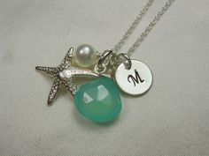 Initial Necklace  - Chalcedony Pearl Starfish Beach Necklace. $34.00, via Etsy.