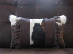 Cow Hide & Leather Pillow on Etsy