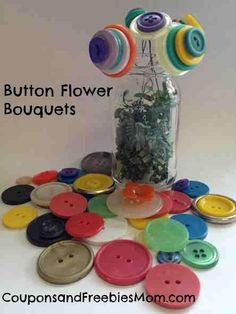 DIY Button : DIY Button Flower Bouquets Craft