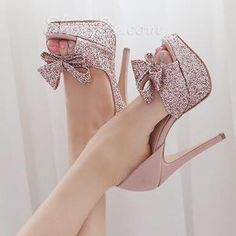 Share to get a coupon for all on FSJ Pink Sparkly Wedding Heels Peep Toe Stilettos Platform Pumps with Bow Fancy Shoes, Pretty Shoes, Crazy Shoes, Beautiful Shoes, Cute Shoes, Me Too Shoes, Wedding Shoes Heels, Prom Shoes, Fashion Heels
