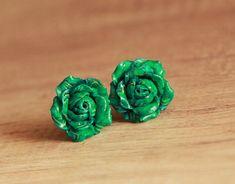 Stud earrings handmade Malachite earrings Rose stud earrings Floral jewelry Green earrings Polymer clay jewelry Clay earrings Flower studs