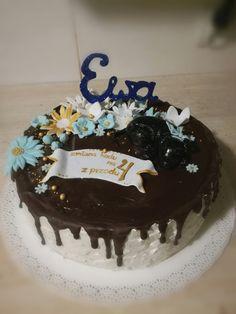 Birthday cake for Ewa...Black dog, flowers, sparkle topper 😊