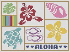 Cross Stitch Pattern Aloha Hawaii Sampler Chart A01 by kanitted, $4.25