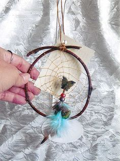 Carved Jasper Butterfly Dream Catcher  dr023 by CLeasBeadwork, $15.00