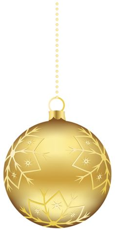 Large Transparent Gold Christmas Ball Ornament PNG Clipart