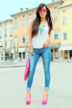 Pink Heels & A Pop Of Turquoise by Be Chic And Cheap