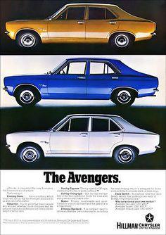 Hillman Avenger magazine advertisement at 1970 launch Classic European Cars, Classic Cars, James Bond Movie Posters, Europe Car, Pub Design, Car Brochure, Cars Uk, Classic Mercedes, Car Advertising