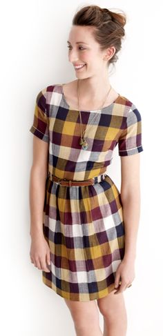 Plaid Dress, would be so cute over a long sleeve shirt, paired with colored tights and boots.