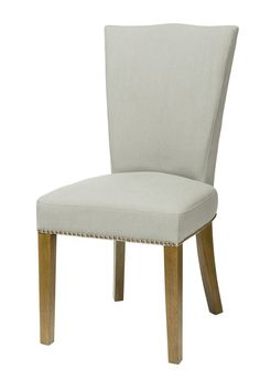 Lauren non tufted high back chair white russian fabric for Non traditional dining room chairs