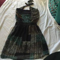 Open back neck tie dress Teal open back slouchy neck , neck tie dress, elastic waist band. Dresses