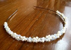 Pearl and crystal flower headband. Available from my Etsy shop.