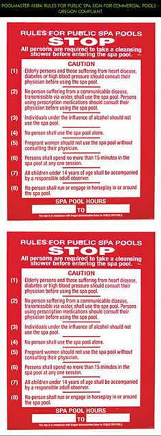 Poolmaster 41384 Rules for Public Spa Sign for Commercial Pools - Oregon Compliant #parts #camera #plans #racing #gadgets #technology #shopping #drone #tech #fpv #pools #kit #products #signs