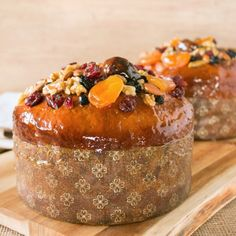 Traditional Easter Kulich decorated with dried fruits, nuts, and covered with apricot glaze.