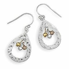 Sterling Silver, 14 Karat Gold Plated Hammered French Wire Earrings JJ FashionTrends. $31.85. Save 35%!