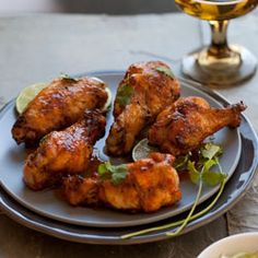 Honeyed Sriracha Chicken Wings grilled on the barbeque
